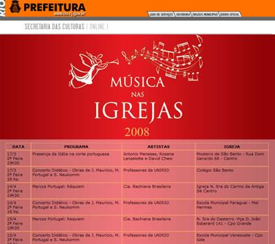 Musica nas Igrejas 2008