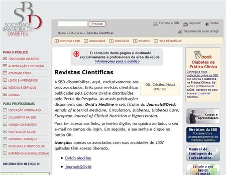 Revistas científicas no site da SBD