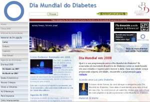 home page do dia mundial do diabetes